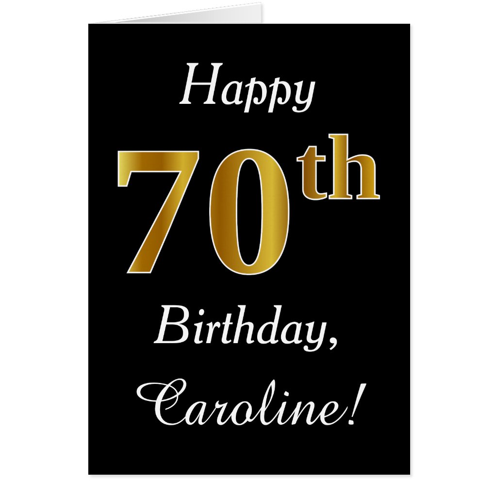 Simple Faux Gold 70th Birthday Card