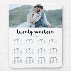 Simple Trendy Typography 2019 Photo Calendar Mouse Mat