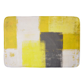 'Simply Modern' Grey and Yellow Abstract Art Bath Mat