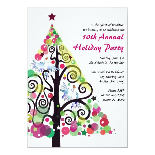 Singing Birds Christmas Holiday Party Invitation Zazzle