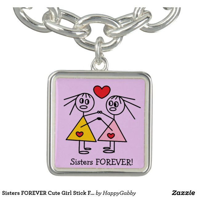 Sisters FOREVER Cute Girl Stick Figures Design