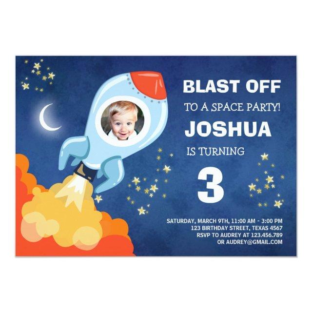Space birthday invitation Rocket Ship Astronaut