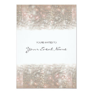 Sparkly Silver Faux Sequins Festive Party Invitation