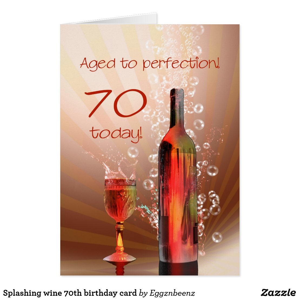 Wine 70th birthday card