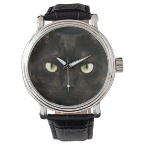 Spooky black cat face watch