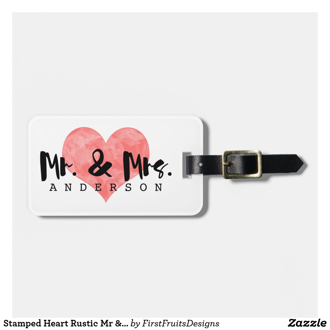 Stamped Heart Rustic Mr & Mrs Monogram Luggage Tag