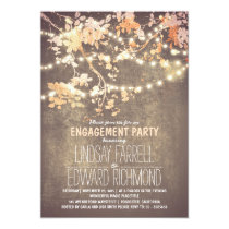 String lights cute and fancy engagement party 5x7 paper invitation card