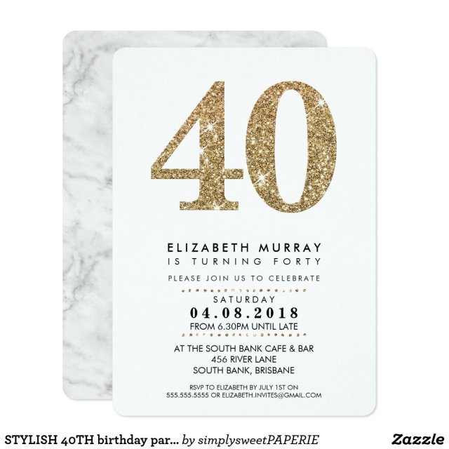 STYLISH 40TH birthday party INVITE gold glitter 40