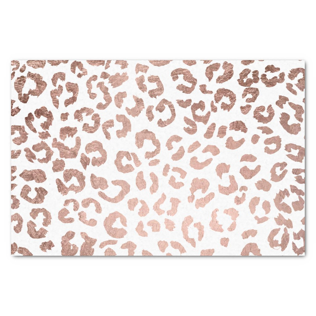 Stylish hand drawn rose gold leopard print tissue paper