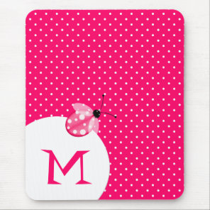 Stylish Pink Polka Dot With Ladybug & Monogram Mouse Mat