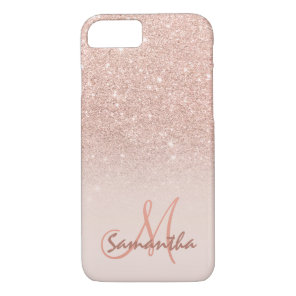 Stylish rose gold ombre pink block personalised iPhone 8/7 case