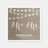 Summer String Lights Wedding Monogram Standard Cocktail Napkin