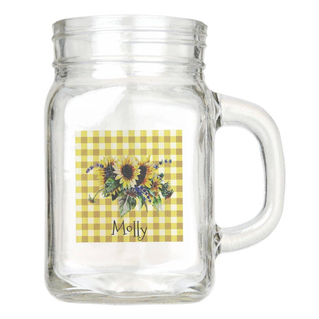 Sunflower Bouquet on Yellow Gingham Personalised Mason Jar