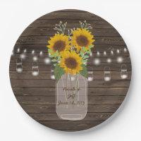 Sunflower Country Wood Mason Jar Wedding 9 Inch Paper Plate