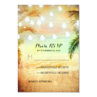 sunset beach twinkle lights tropical wedding RSVP 3.5x5 Paper Invitation Card