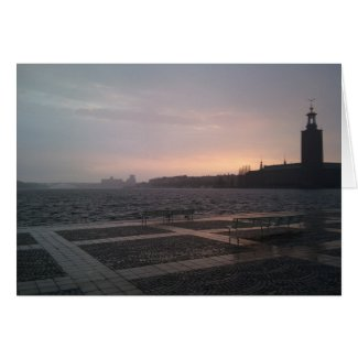 Sunset in rain over Stockholm City Hall Greeting Card