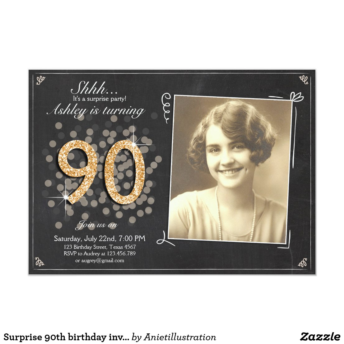 Surprise 90th birthday invite