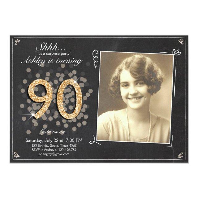 Surprise 90th birthday invite