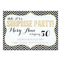 Surprise Party Black and Gold Chevron Card