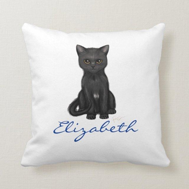 Sweet Black Cat w/Golden Eyes - Blue Custom Name Cushion