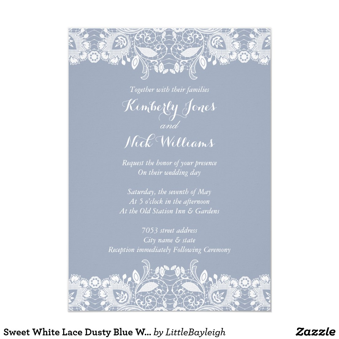 Sweet White Lace Dusty Blue Wedding Invitation