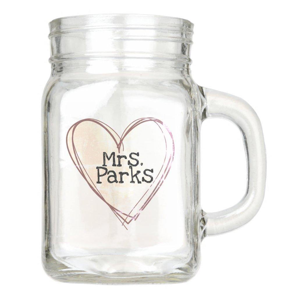 teacher / newly wed new name mason jar