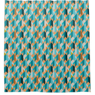 orange and teal shower curtains