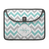 Teal Blue and Gray Chevron Pattern with monogram. Sleeves For MacBook Pro