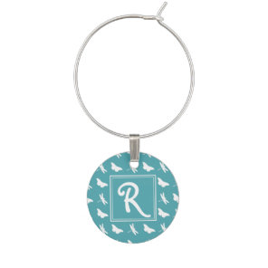 Teal Butterfly and Dragonfly Pattern Wine Charm