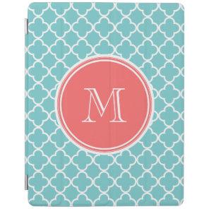 Teal Quatrefoil Pattern, Coral Monogram iPad Smart Cover
