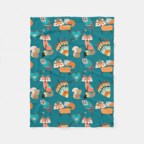 Teal Tribal Fox Pattern Fleece Blanket