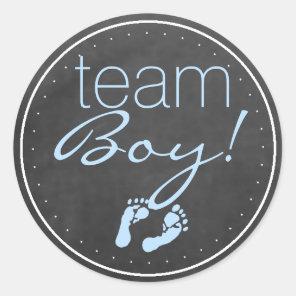 Team Boy Chalkboard Look With Blue Classic Round Sticker