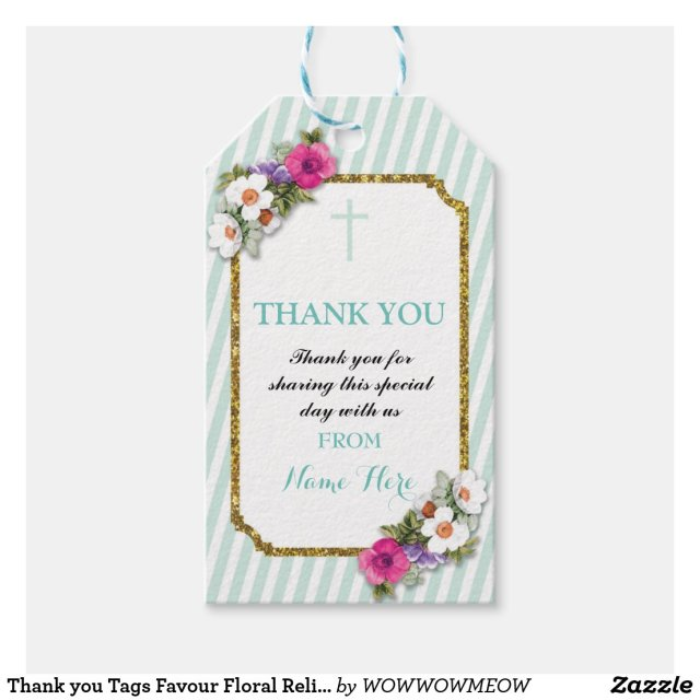 Thank you Tags Favour Floral Religious Gift Tags