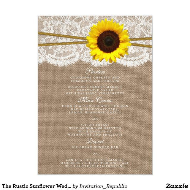 The Rustic Sunflower Wedding Collection Menu Cards