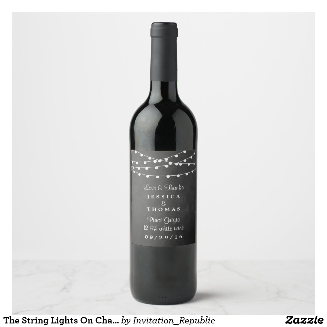 Chalkboard Wedding Wine Label