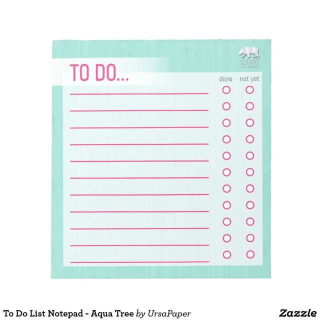 To Do List Notepad - Aqua Tree