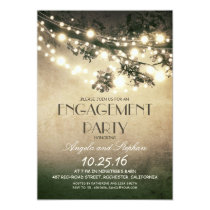 tree branches & string lights engagement party 5x7 paper invitation card