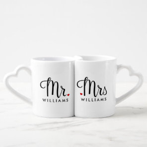 Trendy Script Mr. and Mrs. Coffee Mug Set