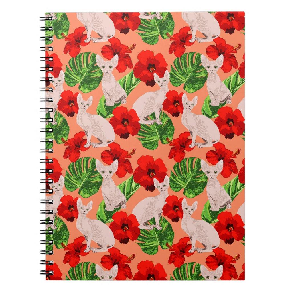 Tropic Sphynx Cat Vector Seamless Pattern Notebook