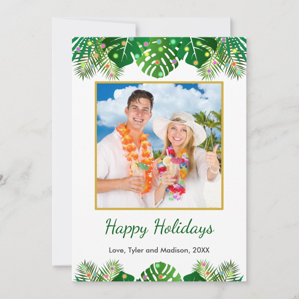 Tropical Beach Foliage Christmas Lights Gold Photo Holiday Card