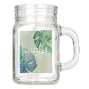Tropical Watercolor Foliage Wedding Mason Jar