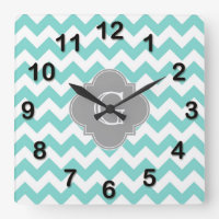 Chevron Quatrefoil Monogram Wall Clock