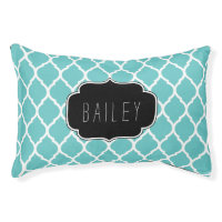 Turquoise and Black Moroccan Quatrefoil Monogram Dog Bed