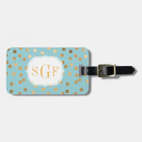 Turquoise Blue and Gold Glitter City Dots Monogram Tag For Bags
