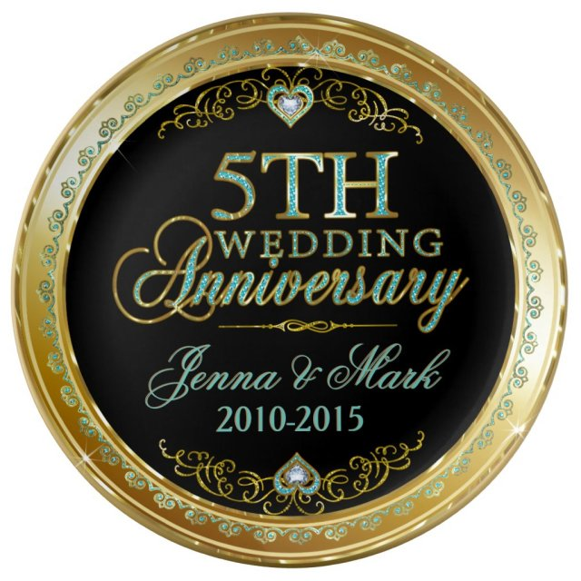 Turquoise & Gold Frame & 5th Wedding Anniversary Plate