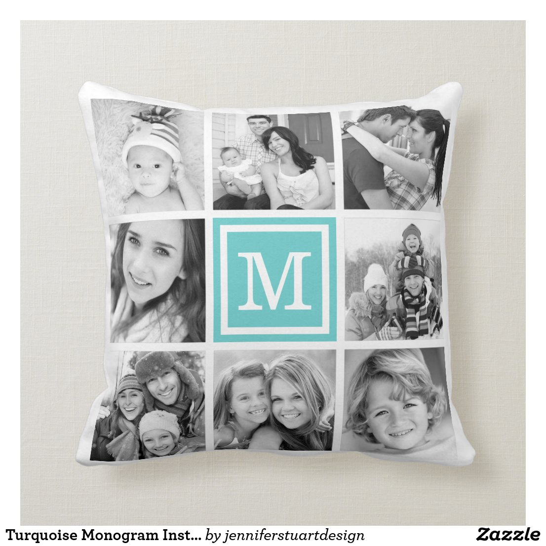 Turquoise Monogram Instagram Photo Collage
