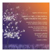 Twilight Dandelion Trending Floral Wedding Invitation