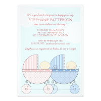 Twin Girl & Boy Carriage Happy Baby Shower Card