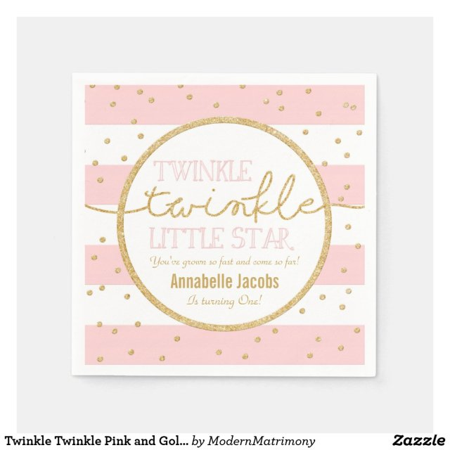 Twinkle Twinkle Pink and Gold Birthday Napkin Disposable Napkin
