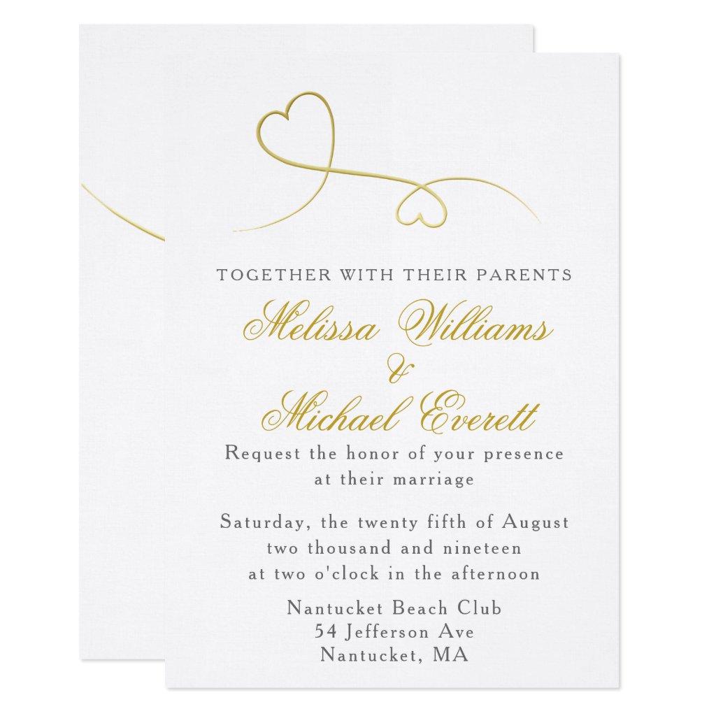 Two Gold Hearts | Minimal Wedding Invitation